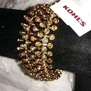 Bar & Rhinestone Gold Stretch Bracelet